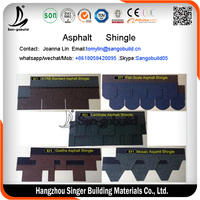 3-tab green asphalt shingles/asphalt shingle manufacturers factory/roof asphalt shingle