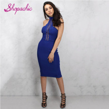 Royal Blue Halter Cut out Bandage dress Fashion Celebrity Women's Dress Hot Selling