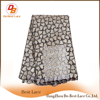 Heart Shape Sequin Lace Fabric With Best Service