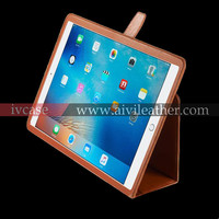 Real Leather Case For Ipad Pro , Pen holder Case For Ipad Pro With Stand Up Feature