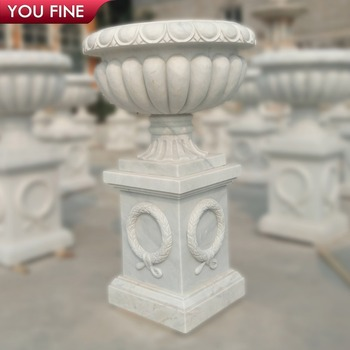 Hand Carved Garden Decorative Stone Vase Marble Planter Flowerpot