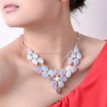 silver chunky jewelry, turky trendy ethiopian opal necklace