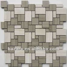 Different size square combination arabic marble stone mosaic for interior wall