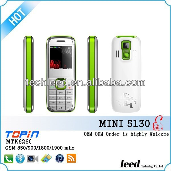Hot sell Quadband dual sim dual standby super mini 5130 handphone with horse race lamp MTK 6260