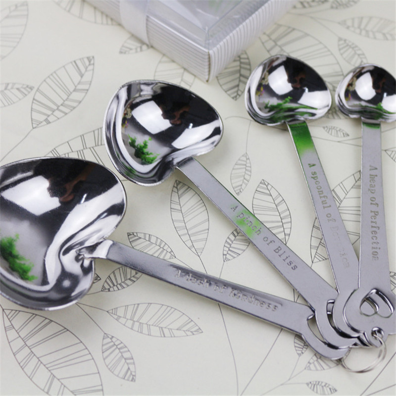 Promotional 4pcs/set Stainless steel heart shape spoon for baking