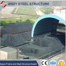 prefabricated quick assemble space frame dome shed coal storage