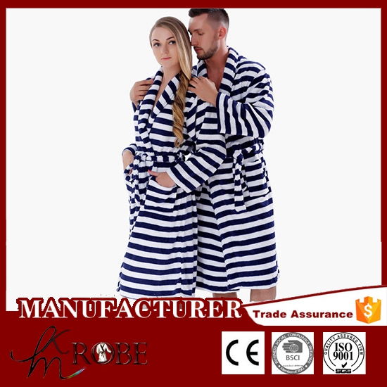 Plus size adults coral fleece navy blue strips pajamas thick bath robe