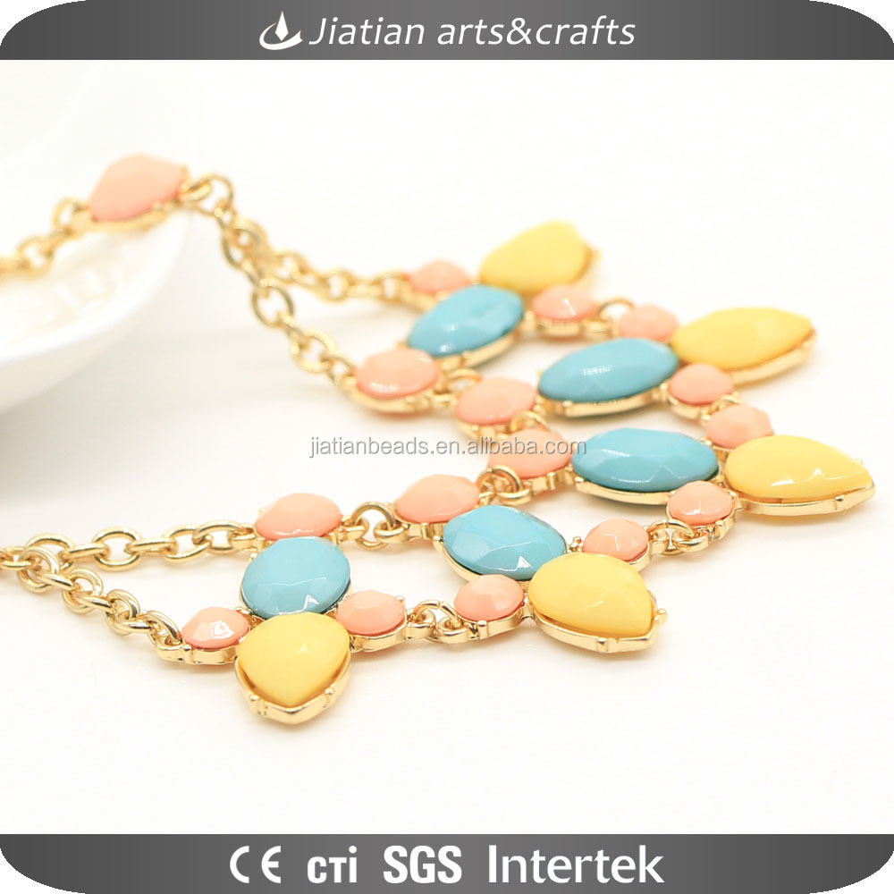 calaite oval stone beads String beaded Golden metal alloy strand necklace