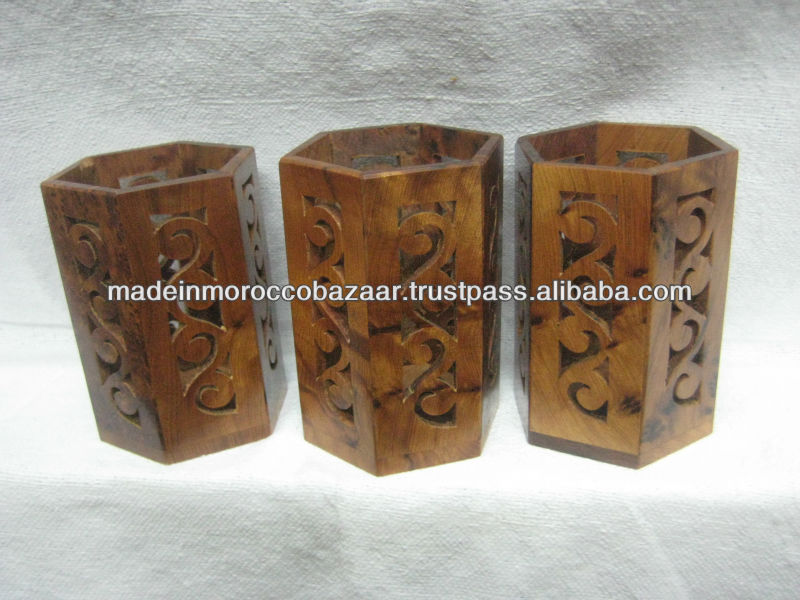 Classic Moroccan Carved Thuya Wood Pen Holder Box 12 cm x 8 cm