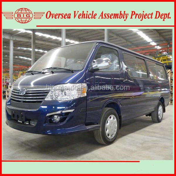 blue color flat roof 15 seats gasoline minibus (skd/ckd available for local assembling)