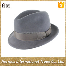 Cheap Winter 100% Wool Felt Wide Brim Fedora Hat With Ribbon