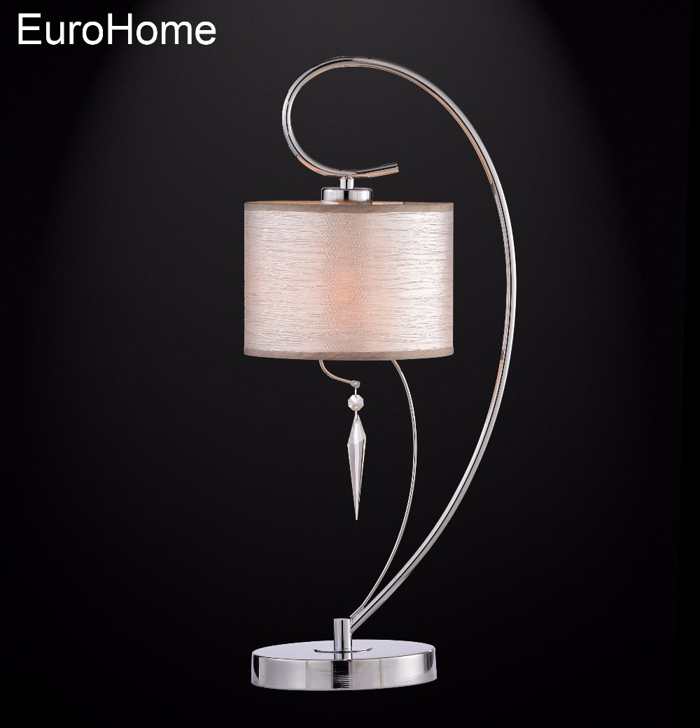 US Home 8702-T fabric lampshade with hanging crystals hotel bedside modern table lamp