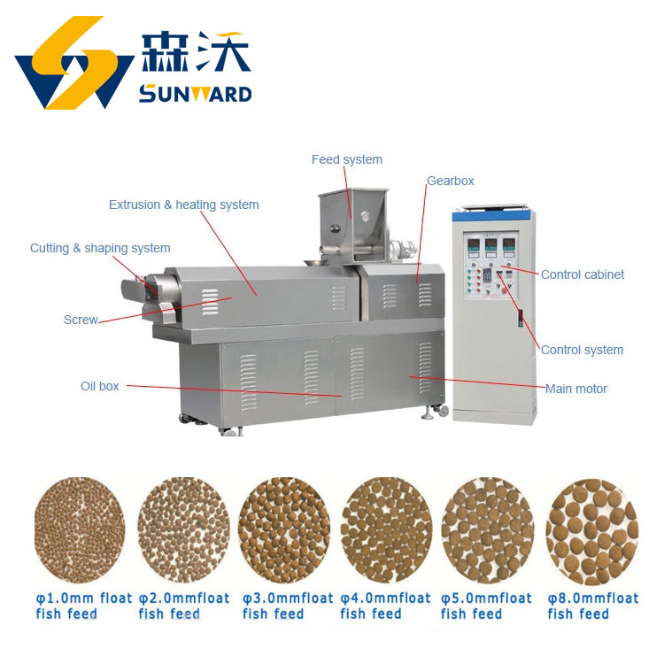 Technical staff support sinking fish feed pellet processing machines big capacity 2 ton/h 3 ton/h animal feed lines