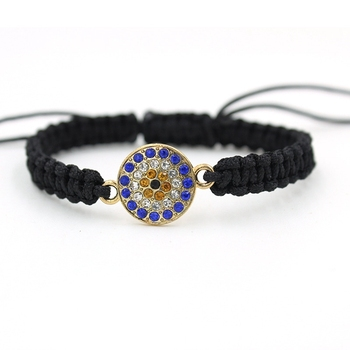 Turkish Womens Zircon Evil Eye Charm Black Black Rope Woven Bracelet
