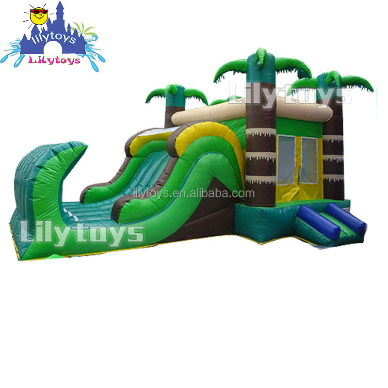 Lilytoys 0.55mm PVC best green giant slide halloween haunted inflatable bounce house
