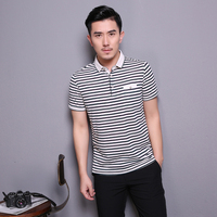 Alibaba China Men's Business Polo t shirt Stripe 100% Cotton Short Sleeve Men's Polo t shirt