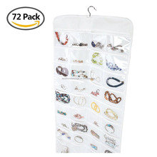 Clear Plastic Hanging Jewelry Organizer, Jewelry Holder, Accessory Storage - 72 Pockets Double-sided
