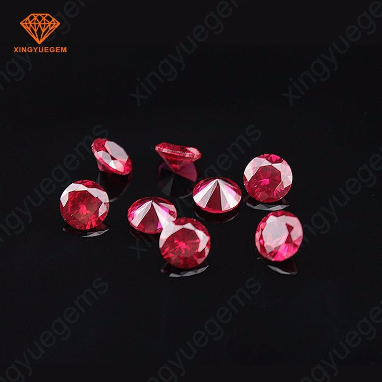 Synthetic ruby round shape 1mm to 15mm corundum loose gemstone