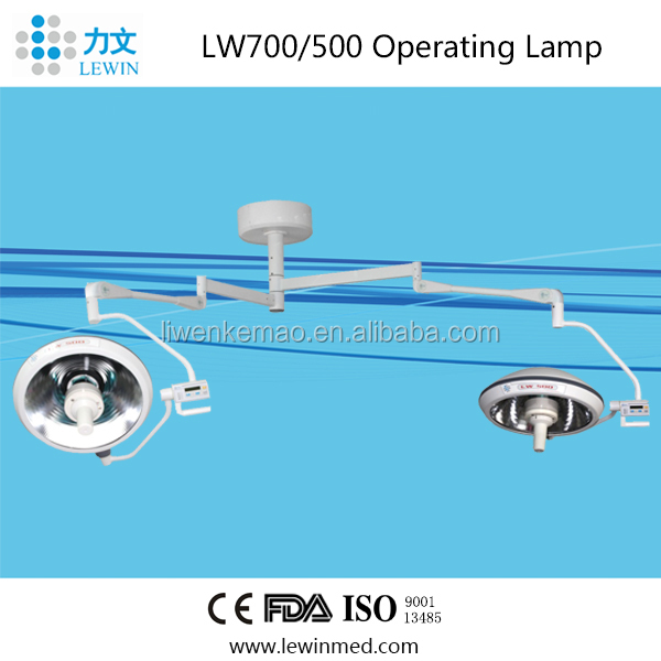 FD/CE/ISO approved Double lgiht heads Halogen Shadowless Operating Lamp LW700/500