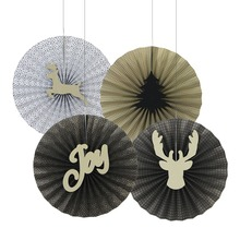 Hanging Decoration Paper Fans Holiday Time Christmas Decorations Made In China