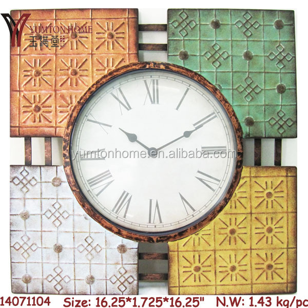 2015 Lastly designed metal wall clock antique style clock