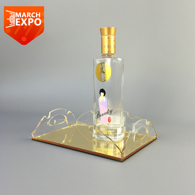Wholesale Lucite With Golden Mirror For Hotel Serving Clear Acrylic Tray