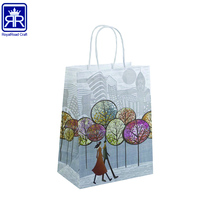Cheap Recycled Custom Logo Printed white Grocery Shopping Packaging Craft Brown Kraft Paper Bag With Handles 17081806