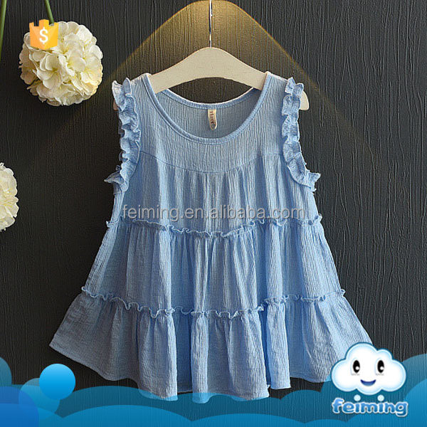 SD-1062G 2017 top quality kids cotton frocks design new model girl dress blue dress for baby girls