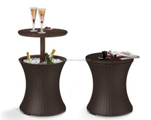 brown cool bar rattan style outdoor patio pool cooler table