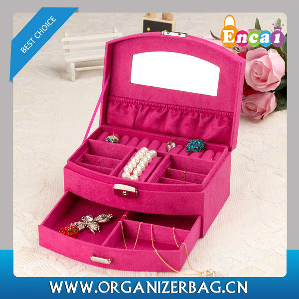Encai New Product Suede Mirrored Jewelry Display Boxes Vintage Multi-Drawer Compartment Jewelry Box Wholesale Stocked
