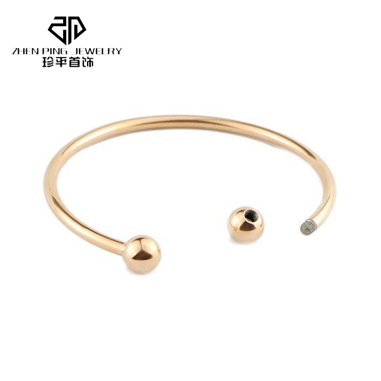 Feminine 316 L stainless steel <strong>18</strong> <strong>K</strong> gold plated bracelet bangle with beads wholesale