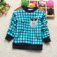 Fashion plaid length T-shirt with thickening and woolen on saling
