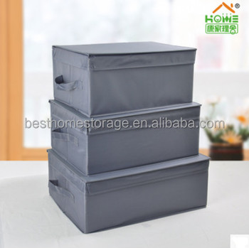 Manufacturing Polyester Canvas Home Storage Boxes Organizers with Lift-off Lid,Gray