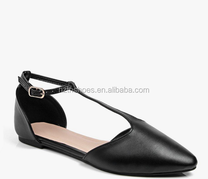 Fashion T bar pointed ballet pump flats buckle strap women sandal leather shoe