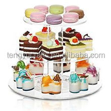 MyGift rotating premium clear acrylic 3 tier round cupcake plate stand deluxe cake