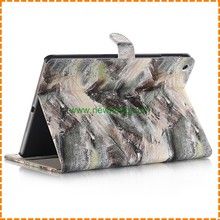 Colorful printed pu leather stand wallet case for ipad air 2