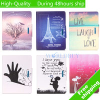 For ipad mini 4 Case Flip leather Stand Ultra-Thin Slim Cover Luxury Colorful Cartoon Smart Case Free shipping