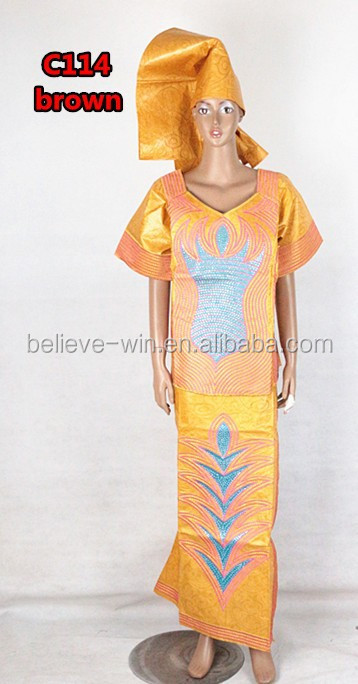 embroidery dress african bazin embroidery design dress of <strong>c114</strong> brown