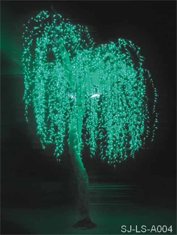 Height 4M LED decoration willow waterfall lighting effect bend artificial tree branch
