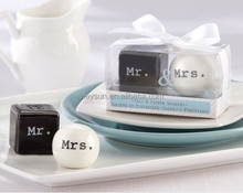 "Wedding Favors Gifts--""Mr. & Mrs.""Black and white Ceramic Salt and Pepper Shakers Event Party Favors"