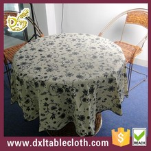 wholesale printed plastic vinyl water proof round tablecloth with flannel or non woven backing