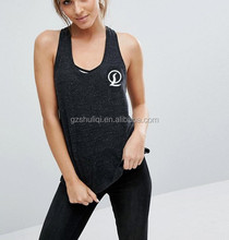 Sexy women sport gym tube tops custom ladie vest stringer racer back tank in black