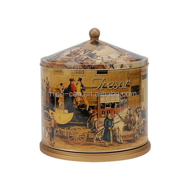 tin music box wooden base