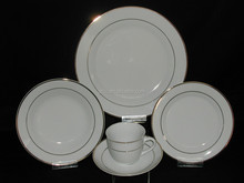 Luxury Wedding Reception Dinnerware Sets 47pcs Dinner Set Porcelain with Gold Rim for 8 person