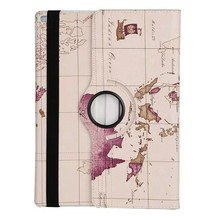 2017 Newest World Map Pattern 360 Degree Rotating Stand 7 Inch Leather Tablet Case,Leather Flip Case Cover for iPad