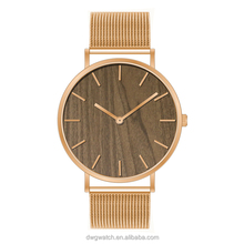 Newest Charm Stainless Steel Quartz Wrist Watch in Wooden Dial