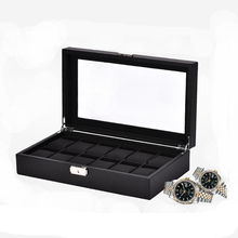 Black watch box 12 slot quality carbon fiber watch box case 12