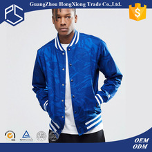 Guangzhou Hongxiong OEM Design Your Own Warm Button Front Side Pockets Blue Custom Men Wholesale Satin Baseball Jackets