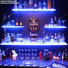 Acrylic Bottle Holder Stand Display Home Decoration Bar LED Lighted Floating Wall <strong>Shelves</strong>