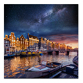 1 PCS/Set HD Printed Waterside City Canvas Painting Milky Way Scenery Wall Picture Sunset Canvas Art Prints for Living Room